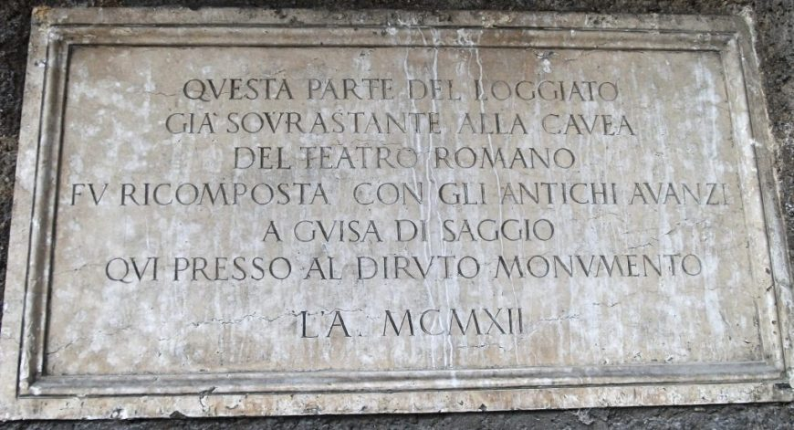 Old Latin sign, Verona, Italy