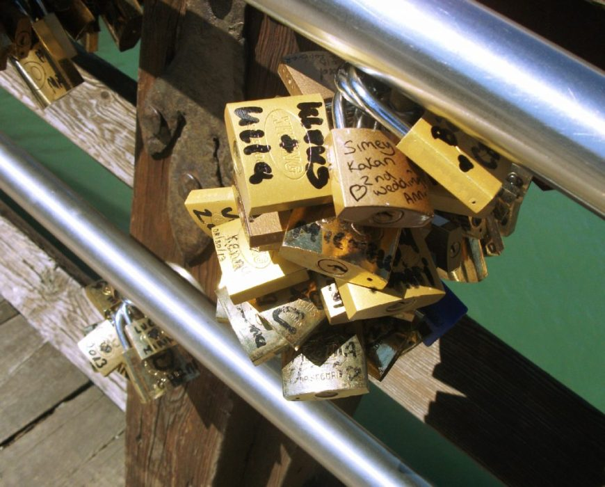 Love padlocks, Rialto Bridge, Venice, Italy