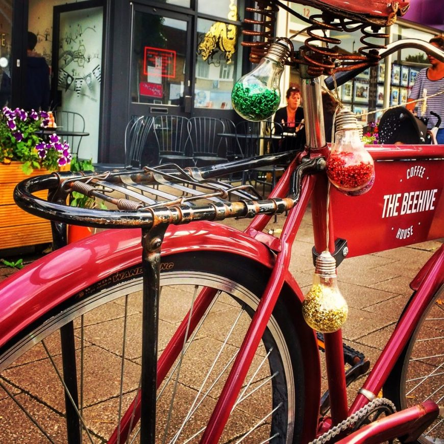 The Beehive Coffee House Bike Sign