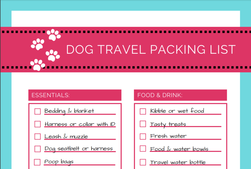 Dog travel packing list sneak peek