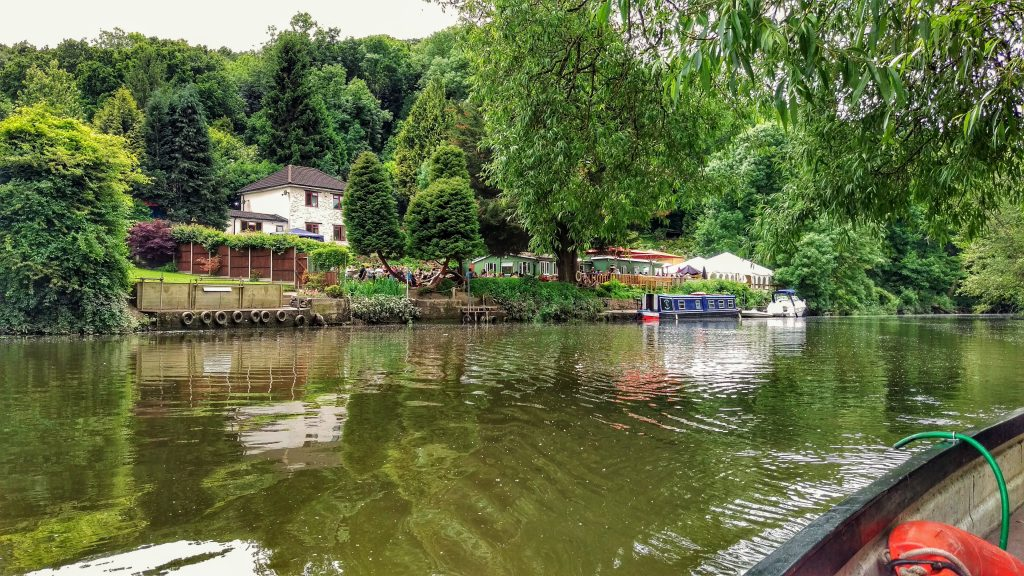 View of Beese's Riverside Bar from the boat