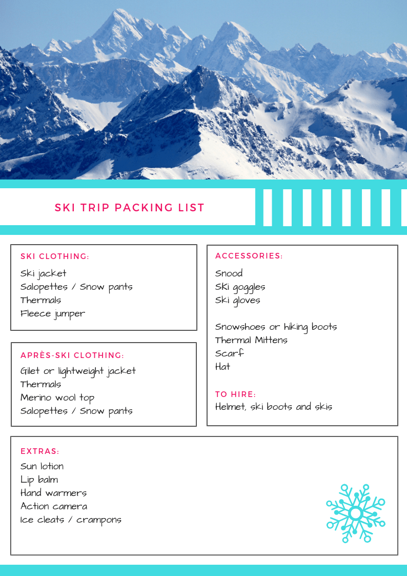 photo about Ski Trip Packing List Printable identify Printable Ski Vacation Packing Checklist: Snowboarding Principles for