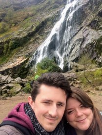Justine & Scott at Powerscourt Estate Waterfall in Ireland