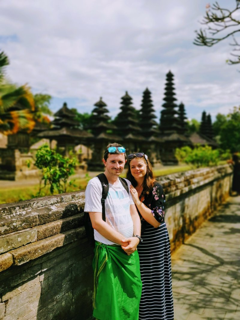Justine and Scott at Taman Ayun Temple, Bali