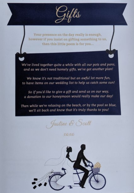 Justine and Scott's wedding invite poem