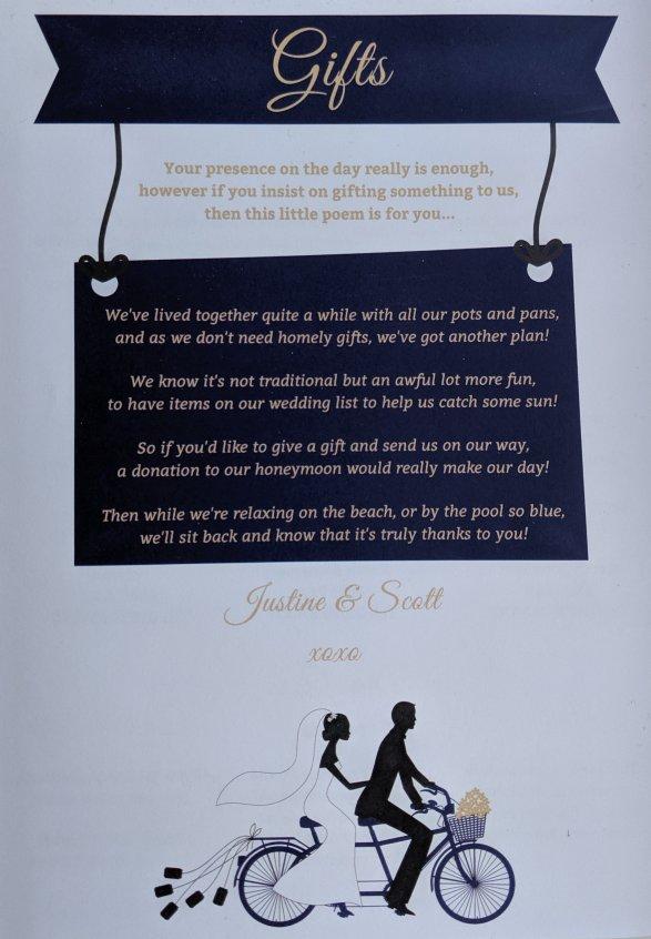 Justine and Scott's wedding invite poem
