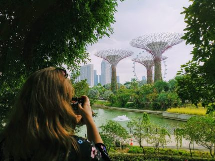 Justine photographing Gardens by the Bay in Singapore