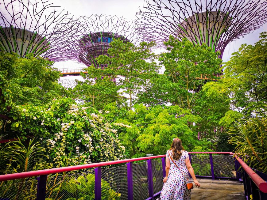 Justine walking through Gardens by the Bay, Singapore