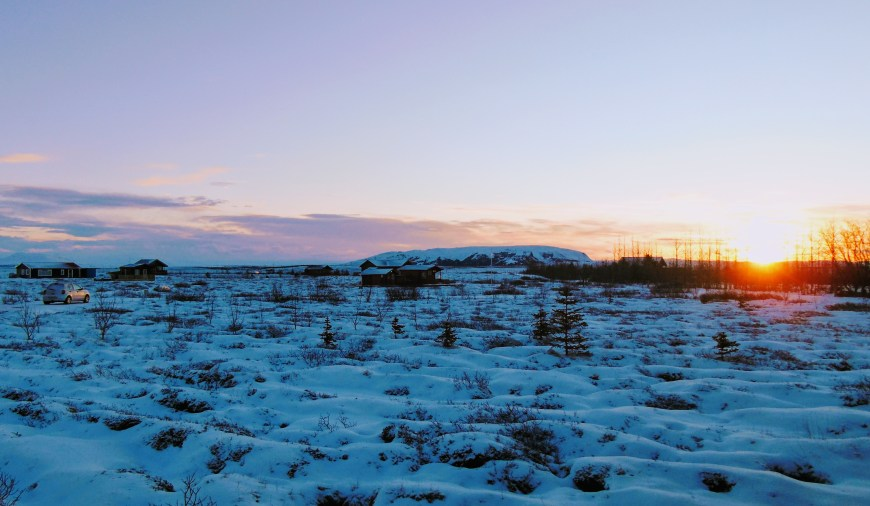 A view of the pretty pink sunrise we could see from our cabin in the Golden Circle