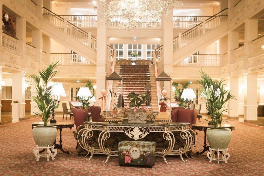 Inside a Paris hotel lobby