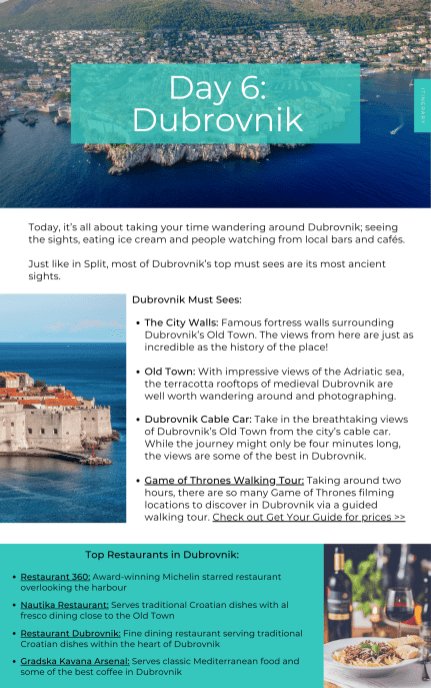 Wanderers of the World Travel Planning Service - Example Croatia Itinerary (Dubrovnik)