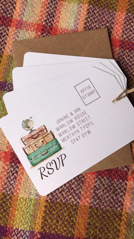 DIY Luggage Tag Travel Themed Wedding Invitations