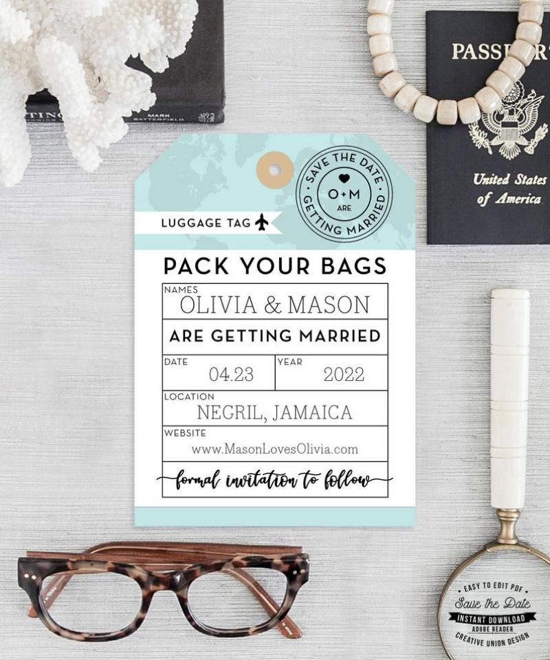 DIY Luggage Tag Save the Dates