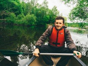 Scott canoeing on Loch Lomond