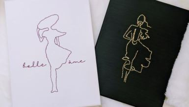 Embroidered Canvas Art - Parisian Ladies