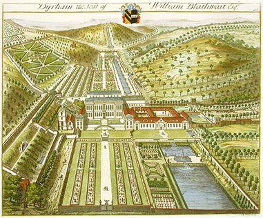 Colour engraving of Dyrham Park