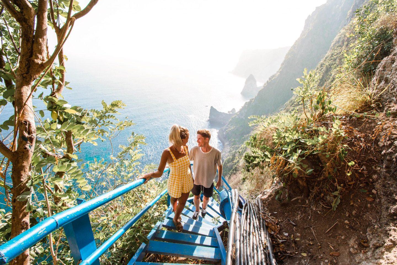 Wanderers & Warriors - Charlie & Lauren UK Travel Couple - Peguyangan Waterfall Nusa Penida Bali - Blue stairs nusa penida blue stairs - mata air peguyangan water of springs - Nusa Islands