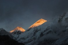 Sun Lit Peaks at Sunset