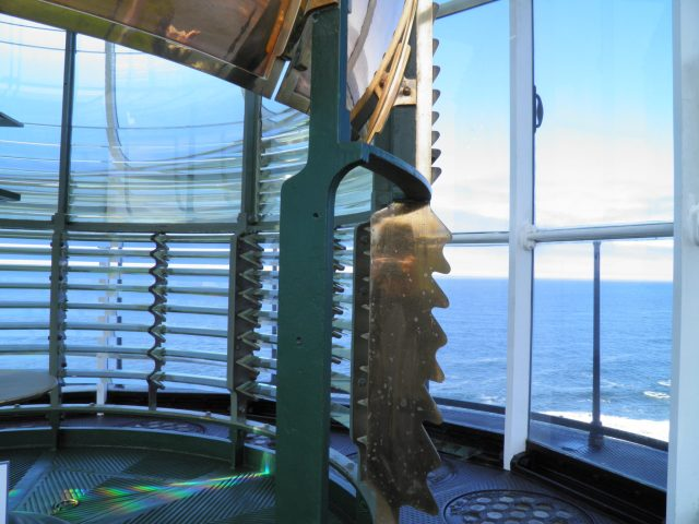 Inside, on top of the Yaquina Head Lighthouse