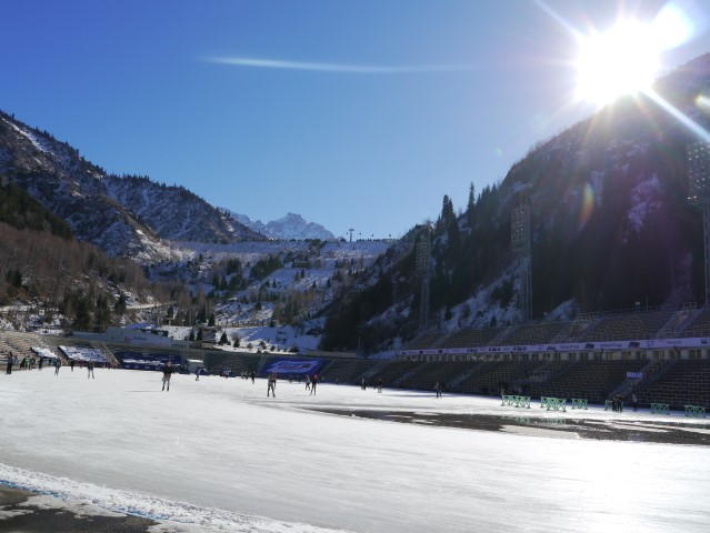 ice-skating at the Medeu rink - there's no safety barrier which adds some fun to staggering onto and off the ice..