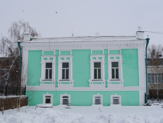 ..this minty green older Russian building.
