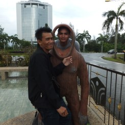Rudy and Awang with Orang Utan Props outside of Menara Tun Mustapha