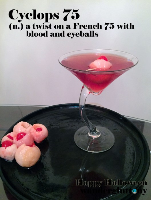 Cyclops 75 a twist on a classic cocktail, complete with blood red color and a zombie eyeball for garnish. A perfect Halloween trick and treat!