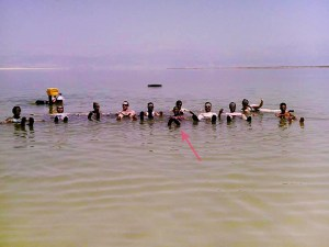 Some Birthright Gangsters floating in the Dead Sea, Israel.