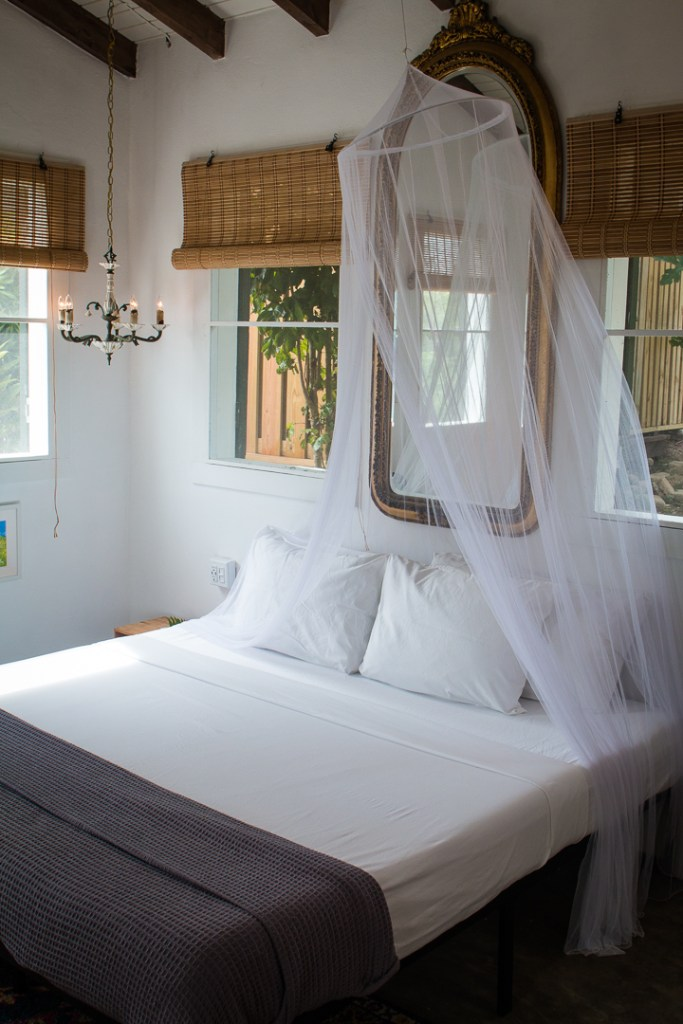 Finca Victoria, Vieques, Puerto Rico, Hotel, sustainable, bedroom, canopy bed, interior design