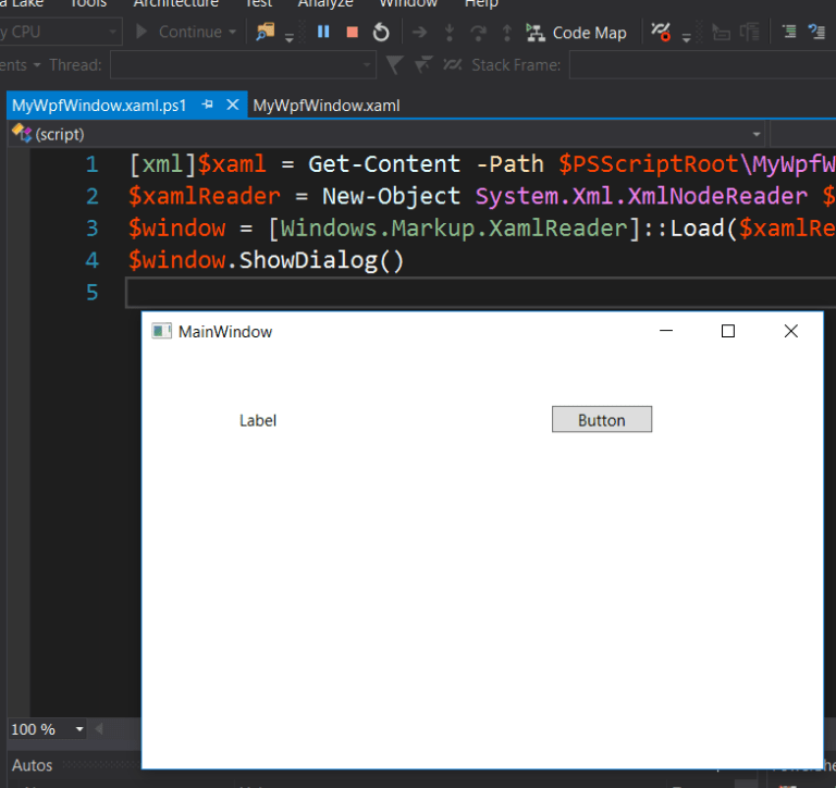 Building a GUI with WPF in Visual Studio · Powershell Tools