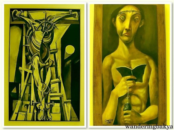 Crucified by Ang Kiukok (Oil on canvas) and Christo by Emmanuel Garibay (Oil on wood)