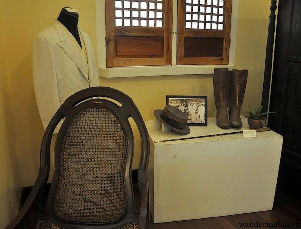 """Some of the personal effects of President Quezon. The guide said that Quezon was not very tall at 5'2"""" that is why his boots are not huge."""