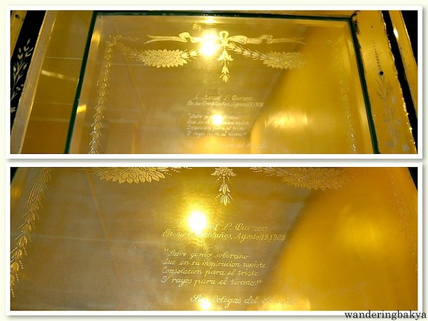 The dedication engraved on the top portion of the cabinet. The tour guide made me translate it. ☺