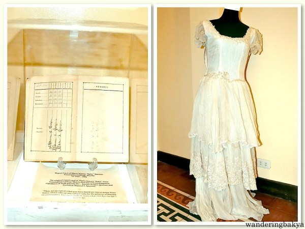 The report card of Ma. Aurora and her supposed-to-be wedding dress. She died in the ambush that took her mother's life.