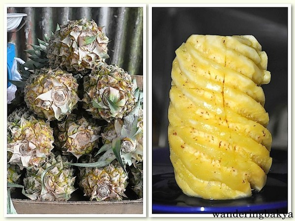 Pineapple with and without its outer layer, P25.00 (US $0.56)