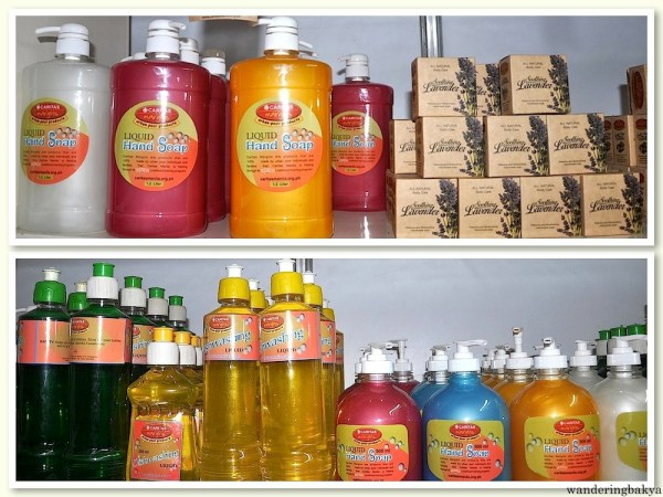 Liquid hand soap, body soap and dishwashing liquid all made by the Caritas Youth Servant Leaders and their partners