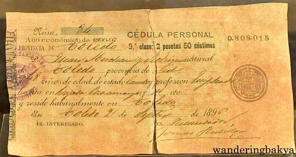 Class 9 Cédula Personal. A specimen of tax receipt torn by katipuneros. For the economic year 1896-97, the owner of the tax receipt had to pay 2 pesetas 50 céntimos.