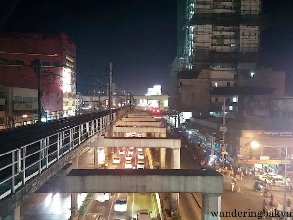 The view of EDSA from MRT - Cubao Station at 7pm on a workday. EDSA is the most important thoroughfare in Metro Manila.
