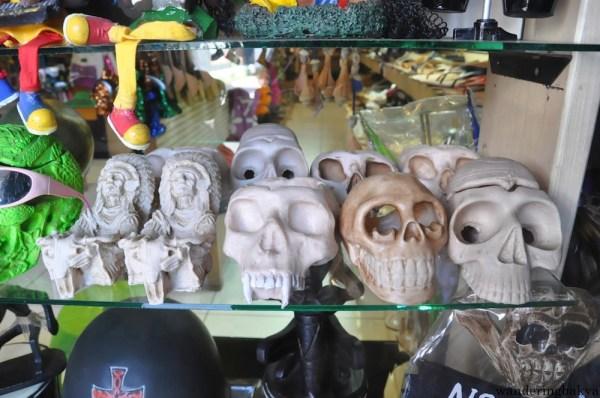 Skulls sold along Legian Street.