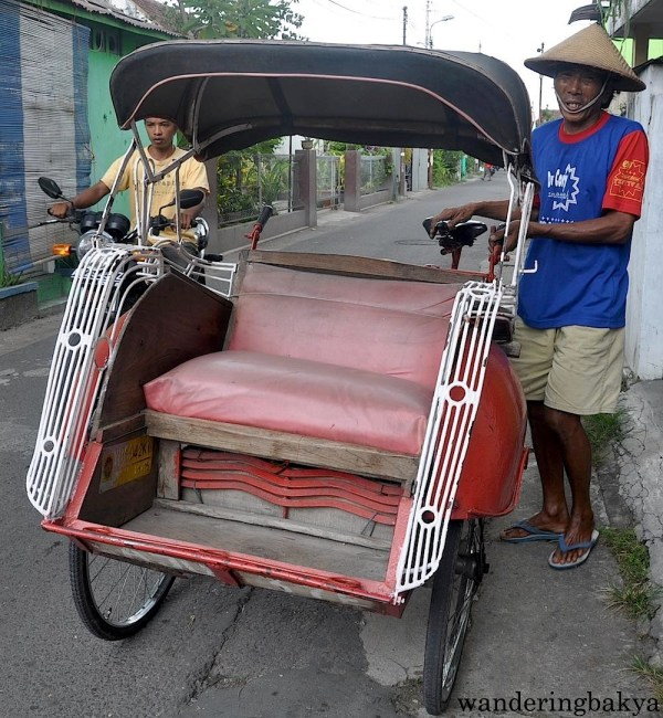 Becak or rickshaw is one of the most common mode of transportation in Yogyakarta. The fare varies and the passenger is free to haggle with the driver. Just remember though that the driver is using a lot of physical strength to transport his passengers from point A to point B.