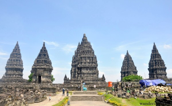 Prambanan temples as seen from the center of the complex