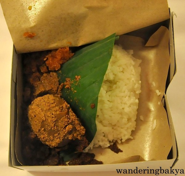 Gudeg. It travelled with us from Yogyakarta to Jakarta but we were not able to eat it on the train or after we arrived in Jakarta.