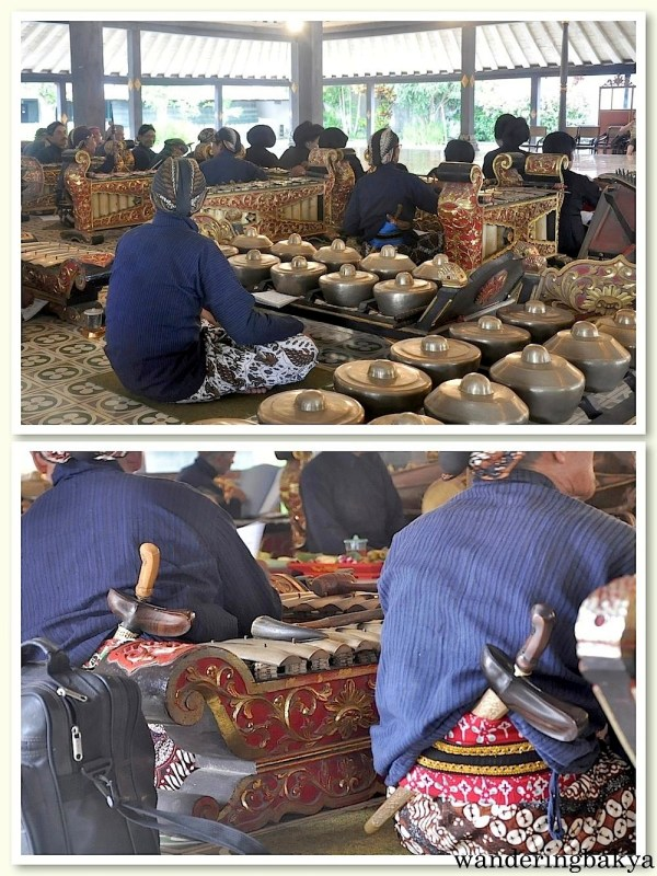 The musicians that played local instruments at Kraton. The bottom photo shows kris sword as part of their get-up.