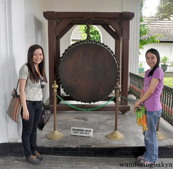Virg and I with the prayer bell. This was tapped to signal the holy time of prayers.
