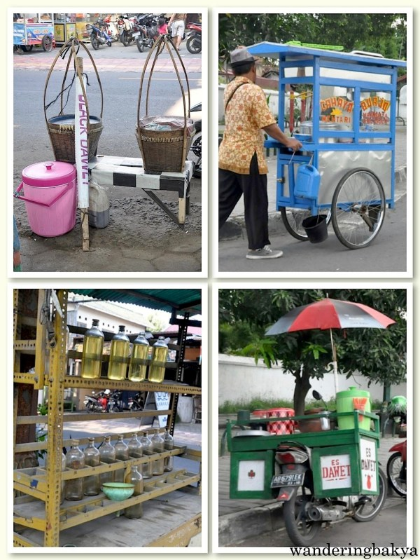 Some of the vendors peddling their goods in the streets of Yogyakarta. The photo on the bottom left is that of a cart selling bottled gasoline. Motorbikes buy bottled gasoline because it is convenient. I did not see a lot of gasoline stations in Yogyakarta.