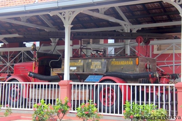 An old fire truck on display in Melaka