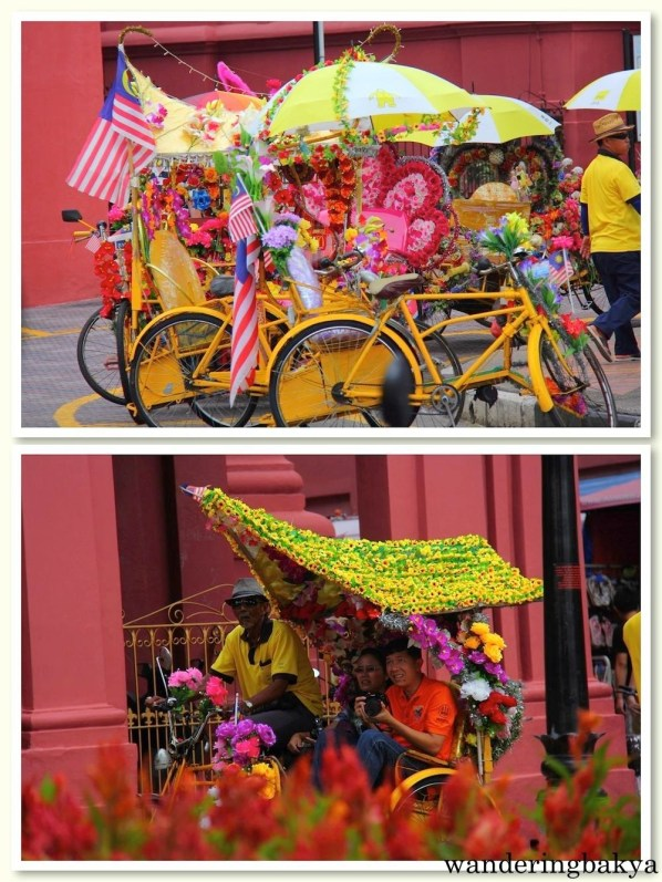 Colorful and highly-decorated rickshaws found in Dutch square, near Christ Church.