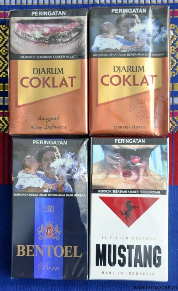 Indonesian Cigarettes: Djarum Coklat (pack of 12), IDR 10,100 (US $0.77) and Bentoel BR Sensasi (pack of 12), IDR 14,700 (US $1.12) at Lotte Mart. The wrapper of Indonesian cigarettes have very graphic images to steer people away from smoking.