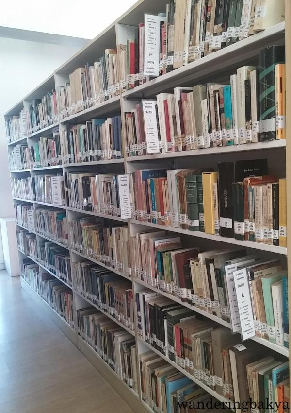 Neatly-catalogued books at Miguel Hernández Library