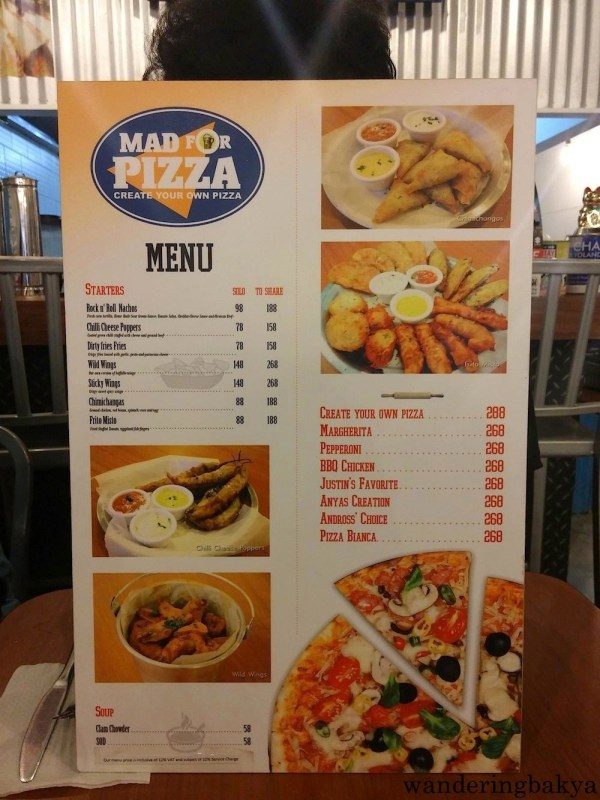 Mad for Pizza (SM City Manila) menu, page 1